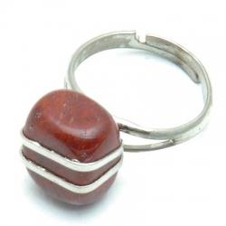 Ring, zilverkleurig, halfedelsteen, rood/bruin (1 st.)