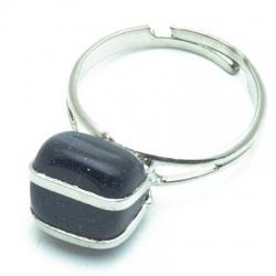 Ring, zilverkleurig, halfedelsteen, blue goldstone (1 st.)