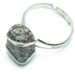 Ring, zilverkleurig, halfedelsteen, bruin (1 st.)