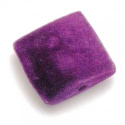 Velours kraal, vierkant, paars, 19 x 19 mm (5 st.)