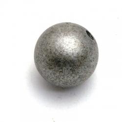 Kunststof kraal rond zilver/zwart 16 mm (5 st.)