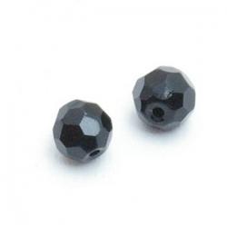 Glaskraal, rond met facetten, zwart, 6 mm (10 st.)
