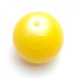 Glaskraal, rond, geel, 14 mm (10 st.)