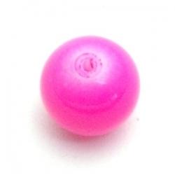 Glaskraal, rond, roze, 14 mm (10 st.)