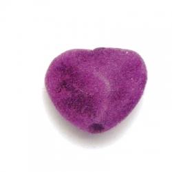 Velours kraal, hart, paars, 18 mm (5 st.)