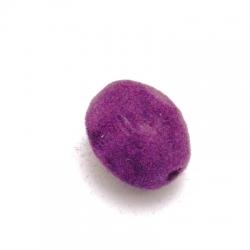 Velours kraal, ovaal, paars, 14 x 10 mm (5 st.)