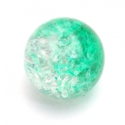 Crackle kraal, rond, groen, 14 mm (10 st.)