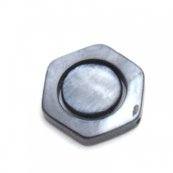 Schelp kraal, 6-hoek, grijs, 18 mm (5 st.)