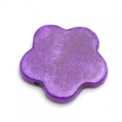 Schelp kraal, bloem, dicht, paars, 18 mm (10 st.)