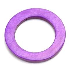 Schelp kraal, rond, open, paars, 30 mm (5 st.)
