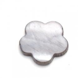 Schelp kraal, bloem, dicht, grijs, 18 mm (10 st.)