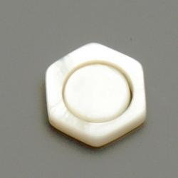 Schelp kraal, 6-hoek, wit, 18 mm (5 st.)