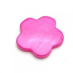 Schelp kraal, bloem, dicht, fuchsia, 18 mm (10 st.)