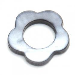 Schelp kraal, bloem, open, grijs, 28 mm (5 st.)
