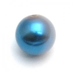 Glasparel, rond, blauw, 12 mm (15 st.)