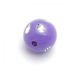 Kunststof kraal rond lila glittersteen 8 mm (25 st.)