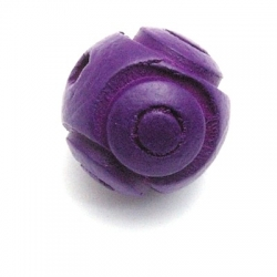 Houten kraal, rond, bloem, paars, 16 mm (10 st.)