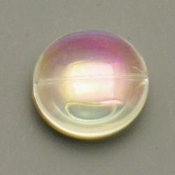 Glaskraal, rond (plat), transparant, AB, 20 mm (5 st.)