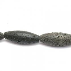 Lava kraal, ovaal, zwart, 40 mm (3 st.)