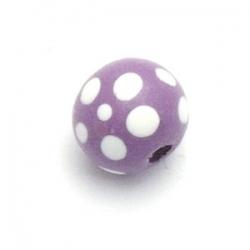 Houten kraal, rond, lila/wit, 8 mm (20 st.)