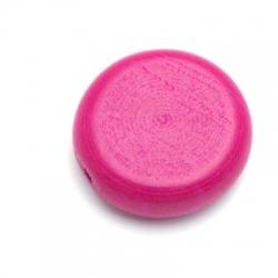 Houten kraal, rond, plat, cyclaamroze, 30 mm (5 st.)