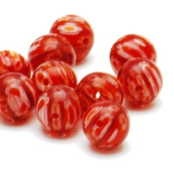 Glaskraal, rond, rood, millifiori, 12 mm (5 st.)