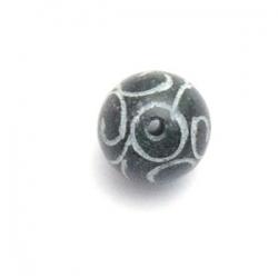 Halfedelsteen kraal, Jade, rond, gecarved, zwart, 8 mm (10 st.)
