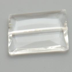 Glaskraal, rechthoek met facetten, transparant, 36 x 28 mm (1 st.)
