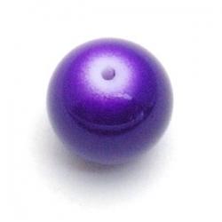 Glaskraal, rond, paars, 12 mm (15 st.)