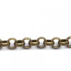 Jasseron, antique goud, rond, 8 mm (1 mtr.)