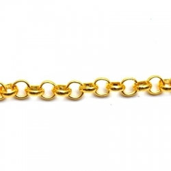 Jasseron ketting, goud, rond, 6 mm (1 mtr.)
