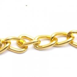 Jasseron ketting, goud, kunststof, 16 mm (1 mtr.)