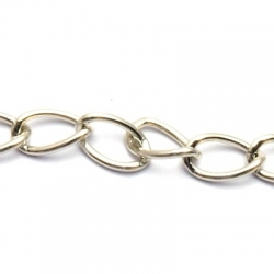 Jasseron ketting, zilver, kunststof, 16 mm (1 mtr.)