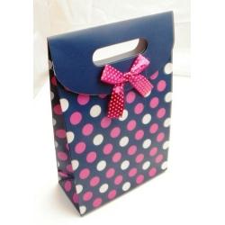 Cadeautasje, donkerblauw/roze stip, strikje, groot, 36-2 (1 st.)