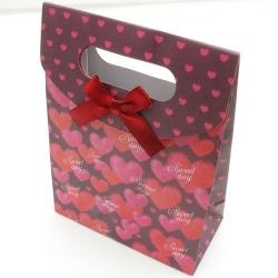 Cadeautasje, rood, hartjes, klein, strik, 68-3 (1 st.)