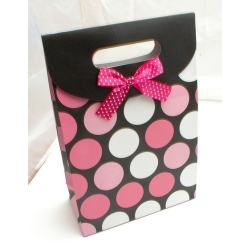 Cadeautasje, zwart/roze stip, strikje, groot, 48-2 (1 st.)