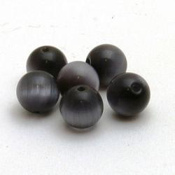 Glaskraal, rond, grijs, Catseye kraal, 10 mm (10 st.)