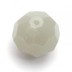 Glaskraal, rond met facetten, grijs opague, 16 mm (5 st.)