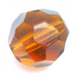 Glaskraal, rond met facetten, bruin, 14 mm (5 st.)