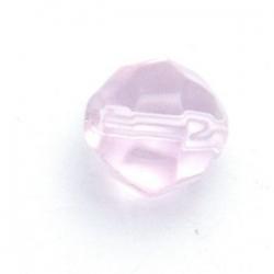 Glaskraal, rond met facetten, roze, 12 mm (5 st.)