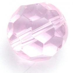 Glaskraal, rond met facetten, roze, 16 mm (5 st.)