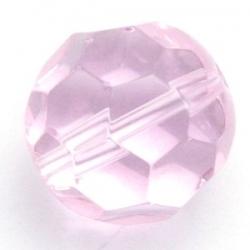 Glaskraal, rond met facetten, roze, 14 mm (5 st.)