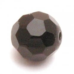 Glaskraal, rond met facetten, zwart, 20 mm (5 st.)
