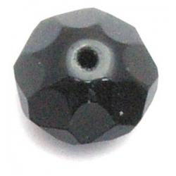 Glaskraal, donut met facetten, zwart, 8 x 14 mm (10 st.)