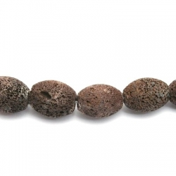 Lava kraal, ovaal, bruin (5 st.)