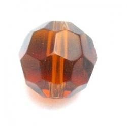 Glaskraal, rond met facetten, bruin, 12 mm (10 st.)