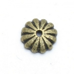 Kralenkapje, antique koper, 2 x 10 mm (15 st.)
