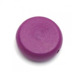 Houten kraal, rond, plat, paars, 30 mm (5 st.)