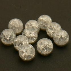 Glaskraal, rond, transparant, Crackle kraal, 14 mm (5 st.)