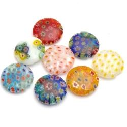 Glaskraal, rond (plat), mix, millifiori, 20 mm (5 st.)
